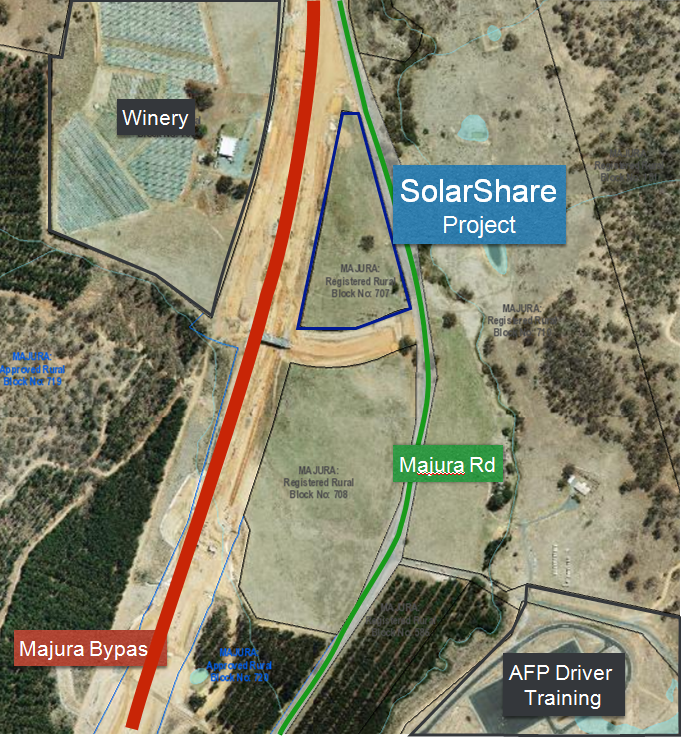 Triangular shaped project site located on the wedge of land at the intersection of Majura Rd and Majura by pass.